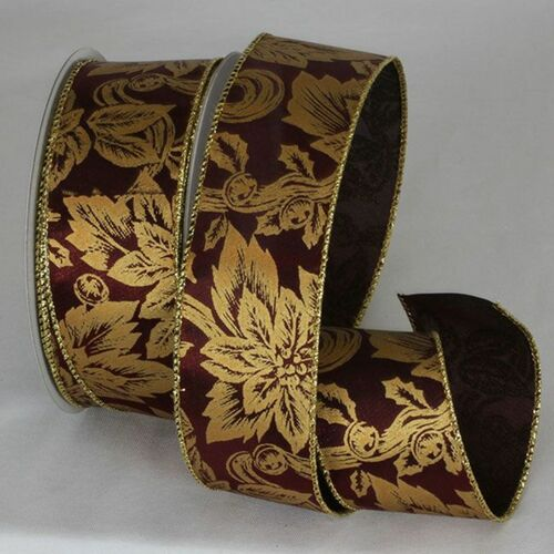 "Red and Gold Floral Wired Craft Ribbon 2"" x 20 Yards - IMAGE 1"