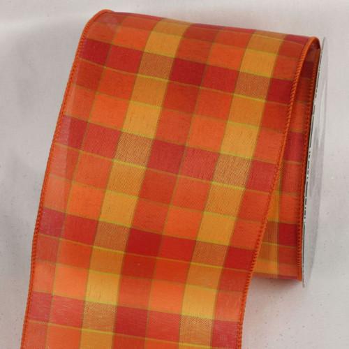 "Orange and Yellow Tartan Wired Craft Ribbon 4"" x 20 Yards - IMAGE 1"