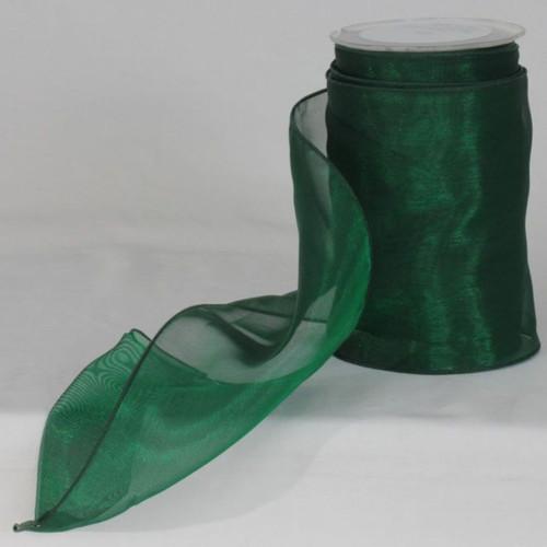 """Green Sheer Organza Wire Craft Ribbon 6"""" x 27 Yards - IMAGE 1"""