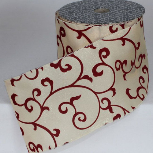 "Ivory and Red Swirls Wired Craft Ribbon 5"" x 20 Yards - IMAGE 1"