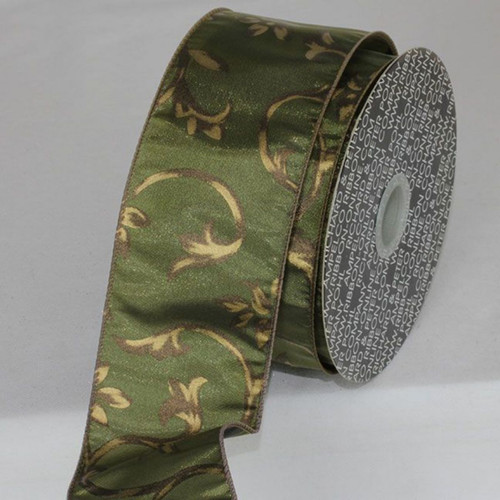 "Olive Green Wired Craft Ribbon 2.5"" x 20 Yards - IMAGE 1"