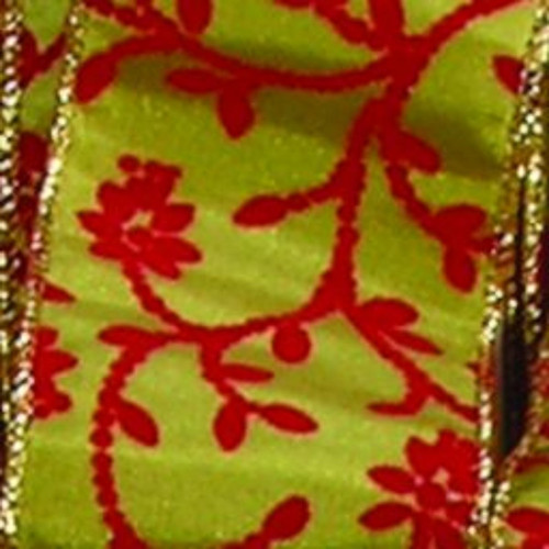 """Green and Red Floral Wired Craft Ribbon 2"""" x 20 Yards - IMAGE 1"""