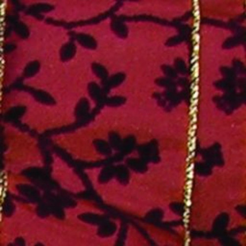 """Red and Black Floral Wired Craft Ribbon 2"""" x 20 Yards - IMAGE 1"""