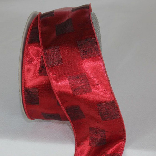 """Red Square Wired Craft Ribbon 2.5"""" x 20 Yards - IMAGE 1"""