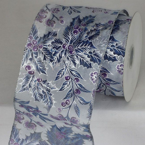 "Silver and Navy Blue Wired Craft Ribbon 4"" x 20 Yards - IMAGE 1"