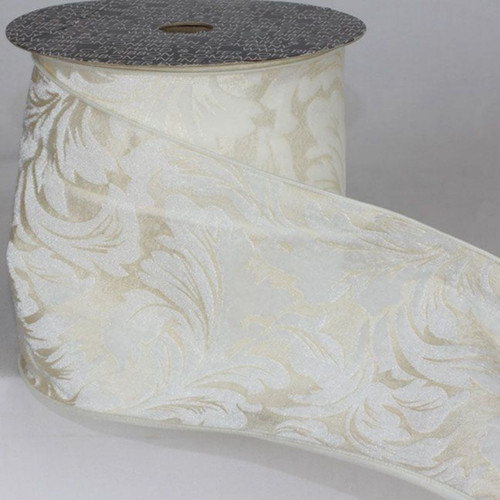 """White Floral Wired Craft Ribbon 6"""" x 20 Yards - IMAGE 1"""