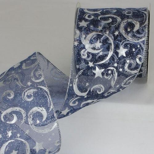 "Navy Blue Sheer Mini Stars Wired Craft Ribbon 4"" x 20 Yards - IMAGE 1"