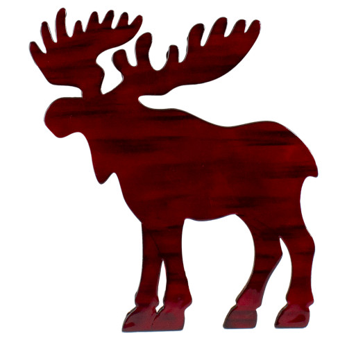"""10.5"""" Red Stained Standing Moose Christmas Tabletop Decor - IMAGE 1"""