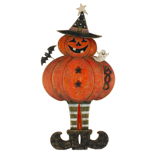 """28"""" Lighted Standing Pumpkin With A Ghost And Bat Halloween Tabletop Decor - IMAGE 1"""
