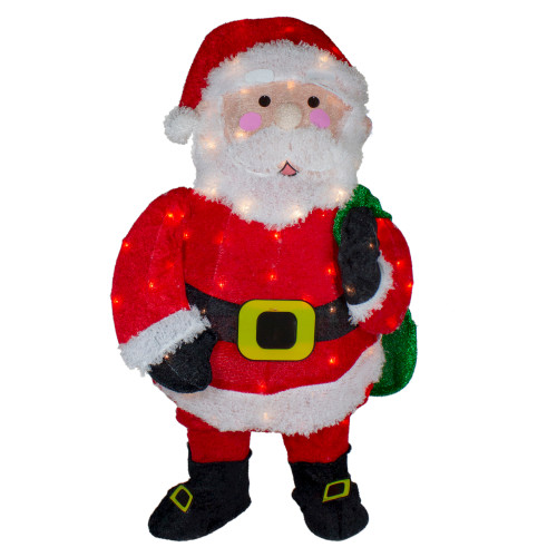 """32"""" Lighted Chenille Santa with Gifts Outdoor Christmas Decoration - IMAGE 1"""