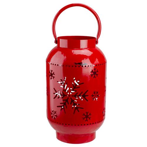 10-Inch Red Snowflake Cutout Christmas Candle Lantern- Metal - IMAGE 1