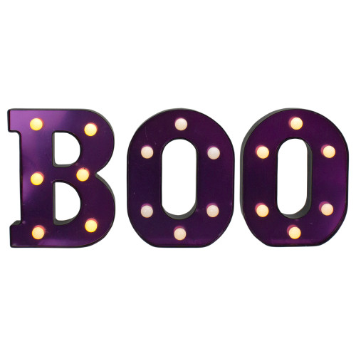 """6.5"""" Lighted Black and Purple BOO Halloween Marquee Sign - IMAGE 1"""