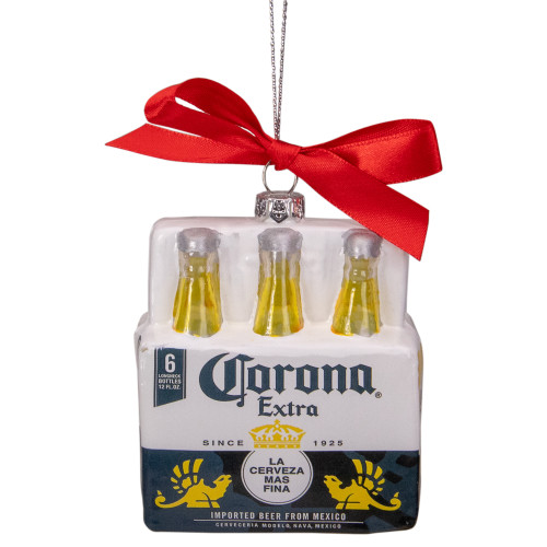 "Set of 6 Red, White, and Yellow Corona Six Pack Glass Christmas Ornament, 3.25"" - IMAGE 1"