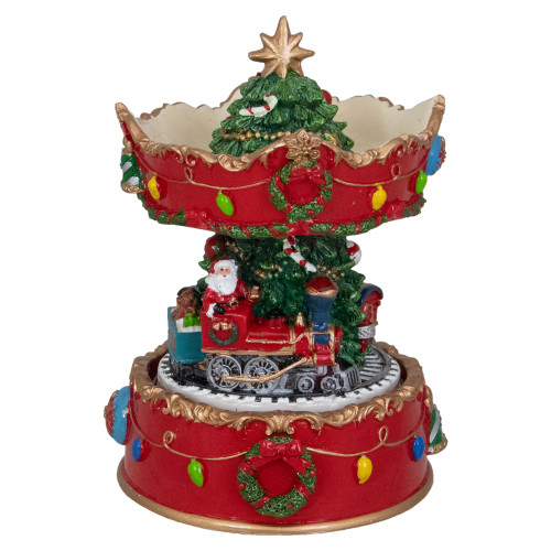 """6"""" Red and Gold Musical Santa on Train Christmas Carousel Music Box - IMAGE 1"""