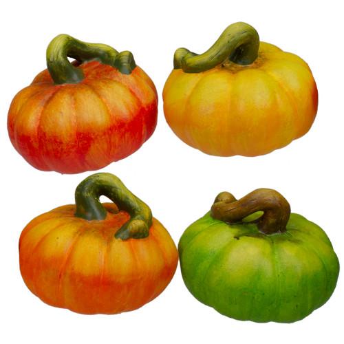4-Piece Fall Harvest Artificial Pumpkins Thanksgiving Decoration Set - IMAGE 1