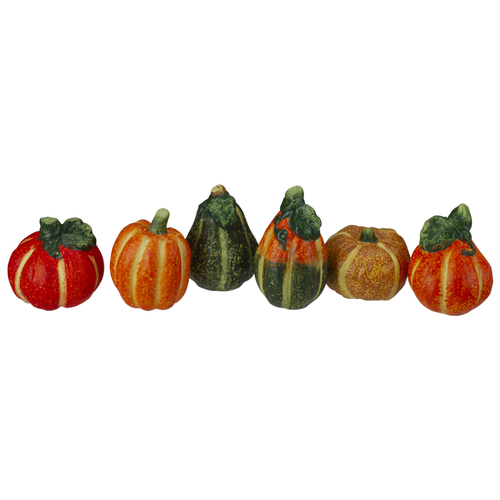 6pc Fall Harvest Ceramic Pumpkins Decoration Set - IMAGE 1