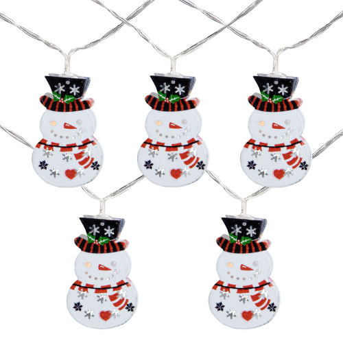 10ct Snowmen with Top Hats LED Christmas Lights - 4.5 ft Clear Wire - IMAGE 1
