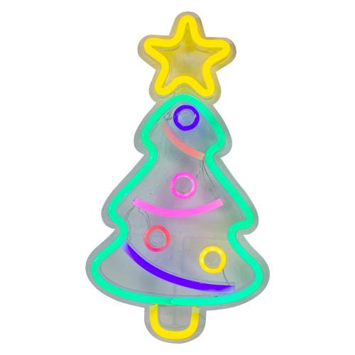 """15"""" LED Lighted Neon Christmas Tree Wall Sign - IMAGE 1"""