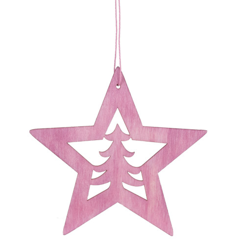 """4"""" Pink Wooden Cut Out Star Christmas Ornament - IMAGE 1"""