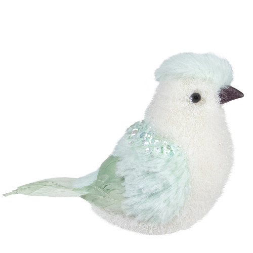 "4.25"" Light Green Table Top Christmas Bird with Sequins - IMAGE 1"