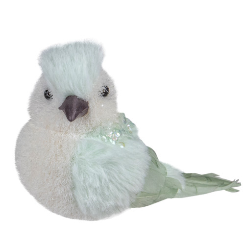 """3.5"""" Light Green Table Top Christmas Bird with Sequins - IMAGE 1"""