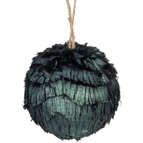 "3"" Green Metallic Downswept Faux Fur Hanging Christmas Ornament Ball - IMAGE 1"