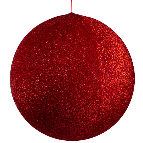 """27.5"""" Red Tinsel Inflatable Christmas Ball Ornament Outdoor Decoration - IMAGE 1"""