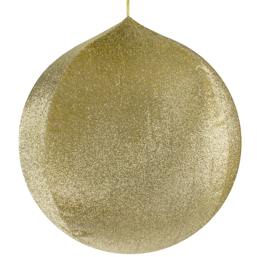 """27.5"""" Gold Tinsel Inflatable Christmas Ball Ornament Outdoor Decoration - IMAGE 1"""