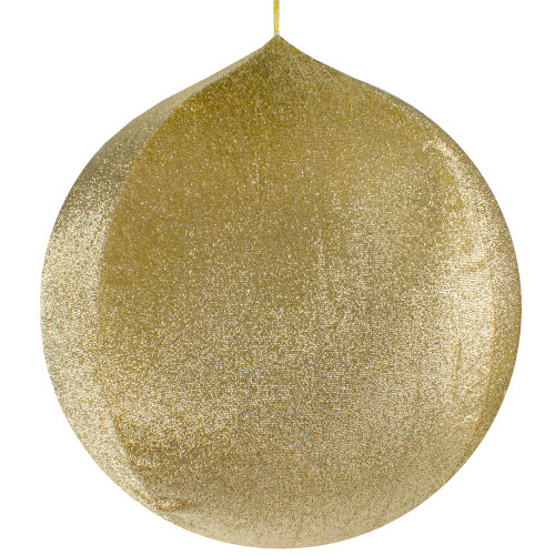 """23.5"""" Gold Tinsel Inflatable Christmas Ball Ornament Outdoor Decoration - IMAGE 1"""