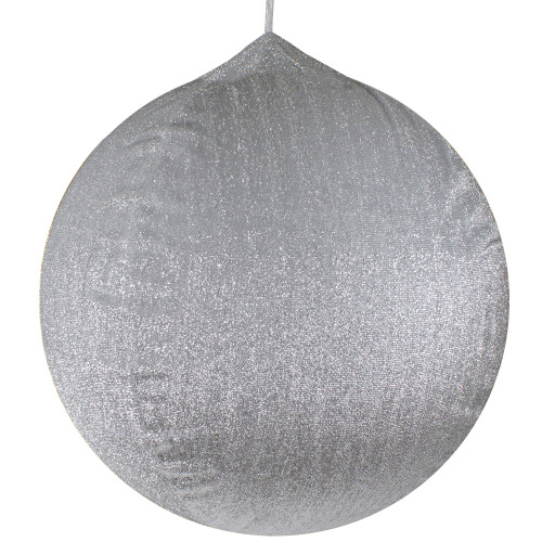 """23.5"""" Silver Tinsel Inflatable Christmas Ball Ornament Outdoor Decoration - IMAGE 1"""