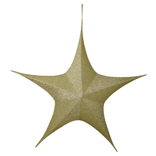 """51"""" Gold Tinsel Foldable Christmas Star Outdoor Decoration - IMAGE 1"""