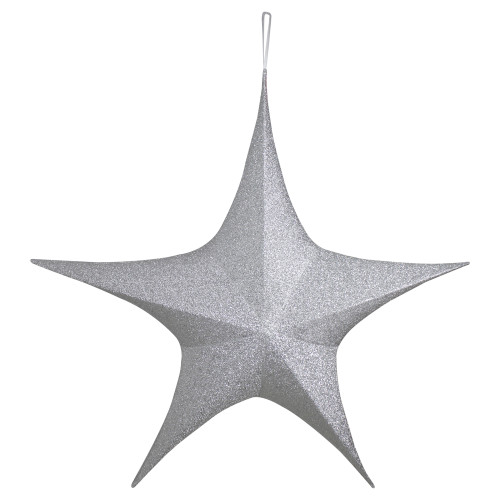 """51"""" Silver Tinsel Foldable Christmas Star Outdoor Decoration - IMAGE 1"""