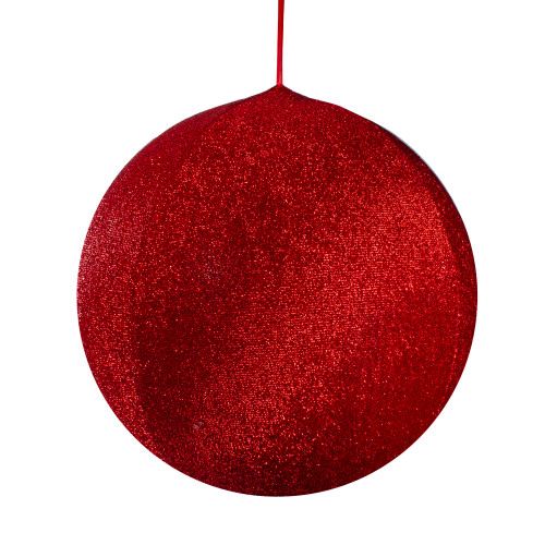 """19.5"""" Red Tinsel Inflatable Christmas Ball Ornament Outdoor Decoration - IMAGE 1"""