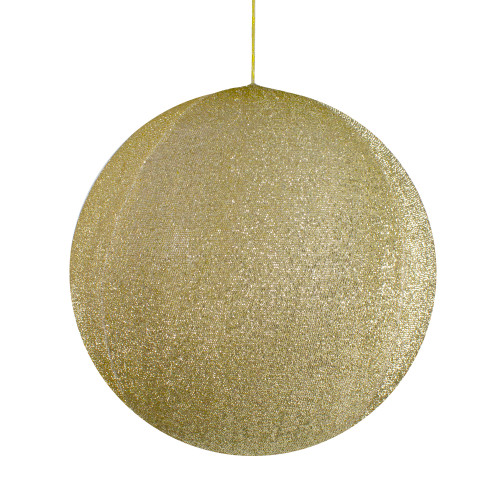 """19.5"""" Gold Tinsel Inflatable Christmas Ball Ornament Outdoor Decoration - IMAGE 1"""