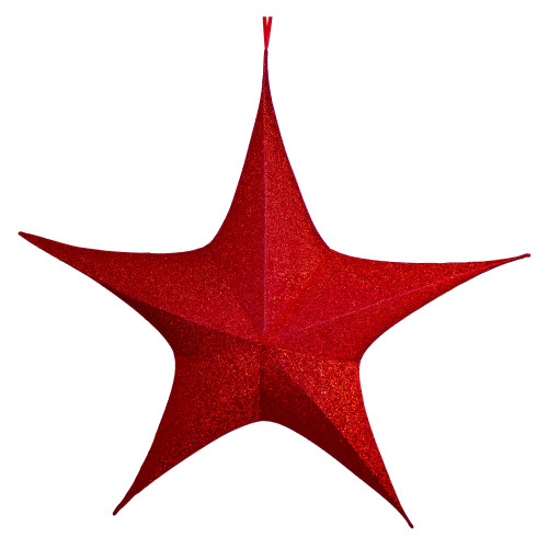 """44"""" Red Tinsel Foldable Christmas Star Outdoor Decoration - IMAGE 1"""