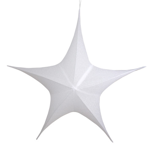 "44"" White Tinsel Foldable Christmas Star Outdoor Decoration - IMAGE 1"