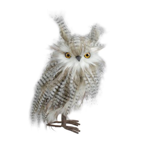 "12"" Standing White and Gray Owl Table Top Christmas Figure - IMAGE 1"