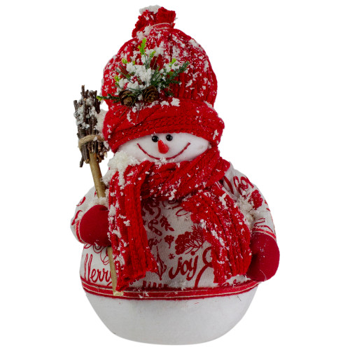 """12.25"""" Red and White Standing Snowman Table Top Christmas Figure with Broom - IMAGE 1"""