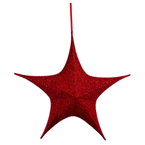"""30"""" Red Tinsel Foldable Christmas Star Outdoor Decoration - IMAGE 1"""