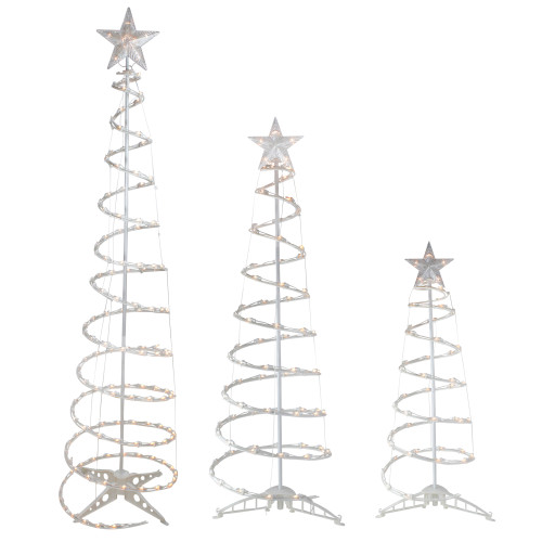Set of 3 Pre-Lit Spiral Christmas Trees - 3, 4, 6' - Clear Lights - IMAGE 1