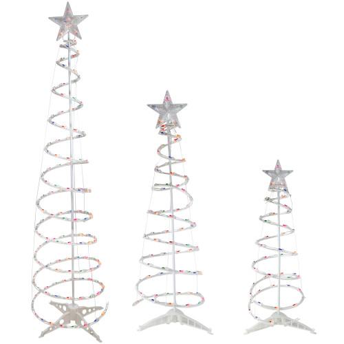 Set of 3 Pre-Lit Spiral Christmas Trees - 3, 4, 6' - Multi Color Lights - IMAGE 1