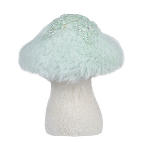 5-Inch Light Green Tabletop Christmas Mushroom with Sequins - IMAGE 1