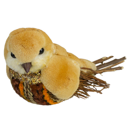 "8.5"" Orange and Brown Autumn Harvest Table Top Bird with Sequins - IMAGE 1"