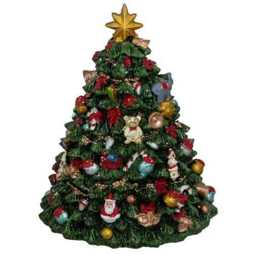 """6.25"""" Green Musical Rotating Christmas Tree Figurine - IMAGE 1"""