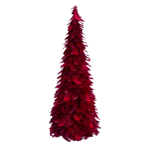 "24"" Plum Feather Table Top Christmas Tree with Glitter - IMAGE 1"