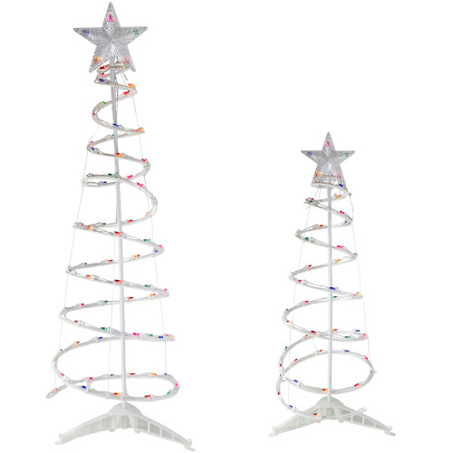 Set of 2 Pre-Lit Spiral Christmas Trees with Star Tree Topper- 4 and 6' - Multi Color Lights - IMAGE 1