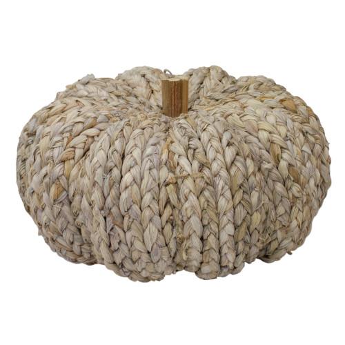 "9.5"" Beige Weaved Autumn Harvest Table Top Pumpkin - IMAGE 1"