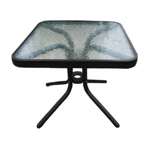 """20"""" Black and Clear Glass top Side Table - IMAGE 1"""