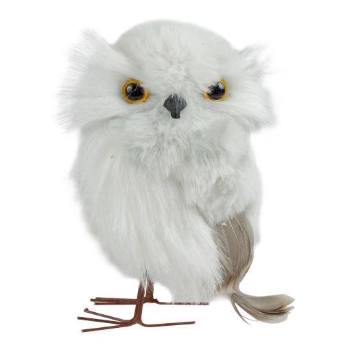 """5"""" White and Brown Plush Owl Christmas Tabletop Figurine - IMAGE 1"""