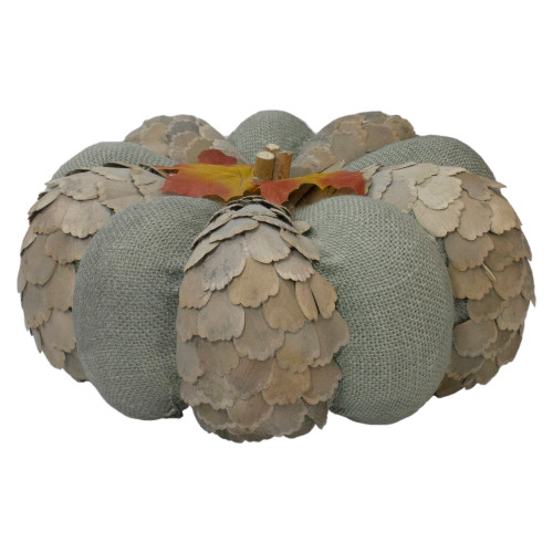 """10"""" Green and Brown Autumn Harvest Tabletop Pumpkin - IMAGE 1"""